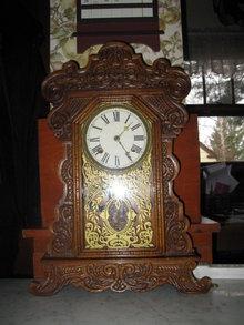 antique waterbury oak shelf clock