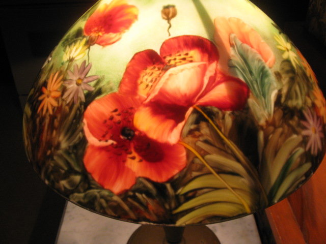 antique reverse painted lamp