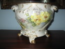 large hand painted limoges jardinaire/hanging planter