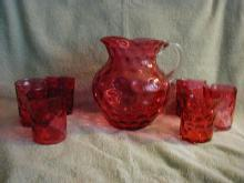 Fenton Ruby Overlay Thumbprint water set with 6 tumblers