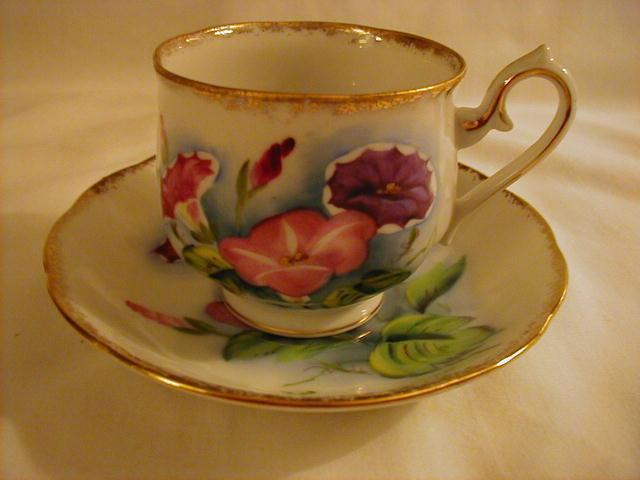 Cup and Saucer, September, Morning Glory