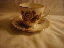 Duchess Cup and saucer, browns and golds flowers