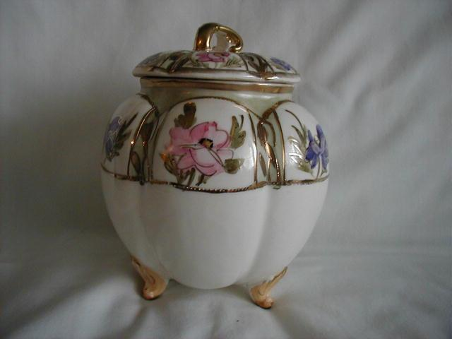 M & M Footed Biscuit Jar, with paneled flowers, HP