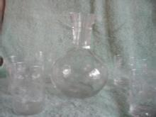 Carafe with six tumblers, Starburst etching