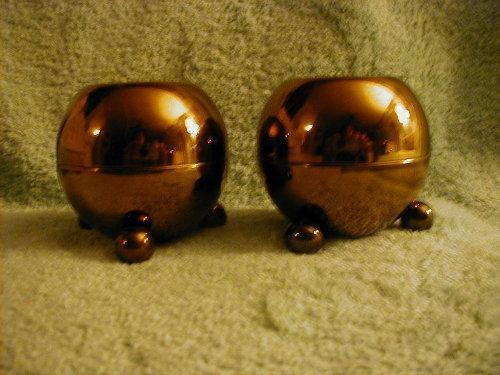 Pilcher brass footed round candleholders, pair