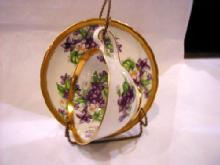 Violets cup and saucer, #377A