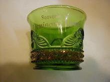 Green with gold Colorado Toothpick Holder, Souvenir of Denison IA