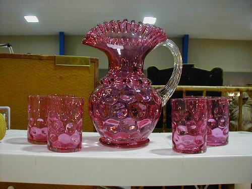 Inverted Thumbprint Cranberry water set with 6 tumblers