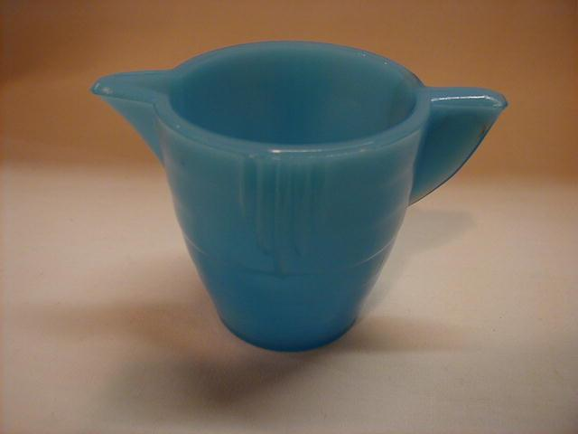 Akro Agate Stacked Disc & Interior Panel blue teapot