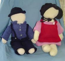 Hand Knit Armish Dolls (pair)