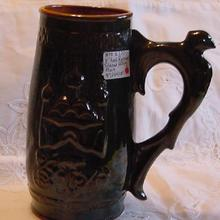 Russian Glazed Pottery Tankard with Bird Motif