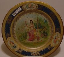 Vienna Tin Art Plate - Lady in Garden with Bird