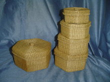 Wicker Hexagon Shape Nesting Boxes (5)