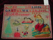 C. 1885 - UNFRAMED SIGNED GERMAN SAMPLER
