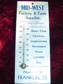 MID-WEST FACTORY & FARM THERMOMETER