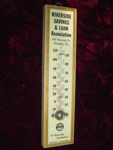 RIVERSIDE SAVINGS & LOAN THERMOMETER
