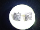 SS/MARCASITE SQUARE SCREW-ON EARRINGS