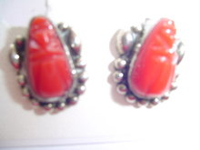 .925 RED SCARRAB TAXCO SCREW-ON EARRINGS