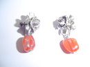 SS FLOWER MOTIF W/CARNELIAN COLOR EARRINGS