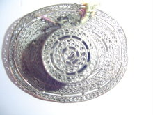 SILVER OVER COPPER FILAGREE LADIES HAT PIN
