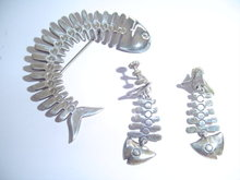 .925 MEXICO FISH SCALE PIN & EARRINGS SET
