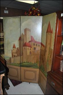 Antique Painted Wooden Room Divider Privacy Screen Castle Art
