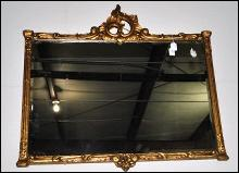 Antique Rectangle Mirror with Gold Gild Gesso Frame