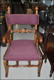 Solid Oak Antique Single Arm Chair with Unusual Gothic Design Ca. 1890