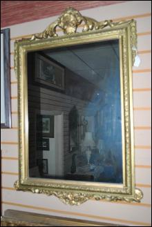 Antique Mirror with Gold Gild Gesso Frame Design