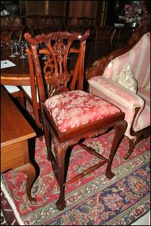 Solid Mahogany Hand Carved High Chippendale Chair NICE