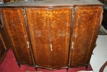 French Provincial Walnut Marquetry Armoire Wardrobe with Chest of Drawers