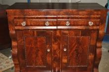 Antique American Empire Flaming Mahogany Server Sideboard Chest Ca 1840