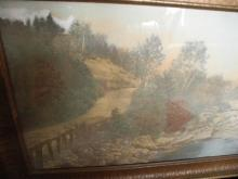 Antique Wallace Nutting Print, Outdoor Pastoral Landscape, Antique Frame