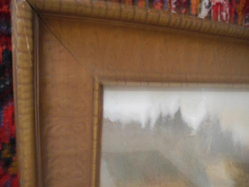 Antique Wallace Nutting Print, Outdoor Pastoral Landscape, Antique Frame