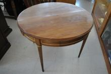 Antique Round 19th Century French Louis XVI Mahogany Game Table, Dining Table