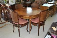 4 Carved Vintage French Cane Back & Seat Side Parlor Chairs