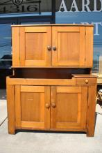 Antique Handcrafted English Welsh Mahogany Stepback Cupboard Circa 1880