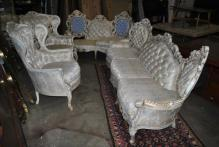 Antique French Provincial Silk Brocade Sofa and Chairs Living Room Suite