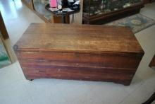 Hand Made Large Antique Cedar Blanket Hope Chest With Interior Drawer
