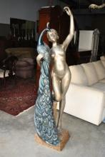 Spectacular 70 in Statue Nude Lady & Peacock Bronze $15K Retail