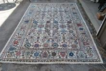 Beige Blue Coral Hand Sewn Floral Rug 78 x 114
