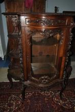 Fabulous Antique Rococo Revival Solid Walnut Etagere Curio Cabinet Circa 1840