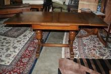 Oak English Pub Dining Draw Leaf Trestle Base Table Circa 1920