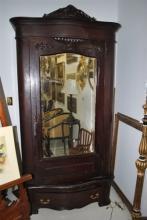 Antique Oak Single Door Mirrored Armoire Circa 1890