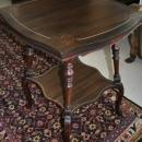 Small Two Tiered Mahogany Marquetry Design Side Table Circa 1900