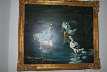 Ira Monte Large Original Oil on Canvas Painting Ducks Gilded Gold Frame