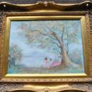 E. Van Cort Original Landscape Oil Painting Girls Under Tree Gilded Frame