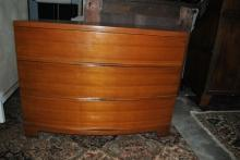 Sleek Deco Mid Century Modern Bow Front Chest of Drawers