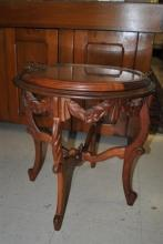 Hand Carved Rococo Mahogany Petite Glass Server Butler Tray Table