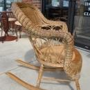 Natural Victorian Rolled Arm Wicker Rocker Circa 1890's
